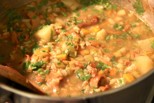Mushroom Barley Soup With Chanterelles