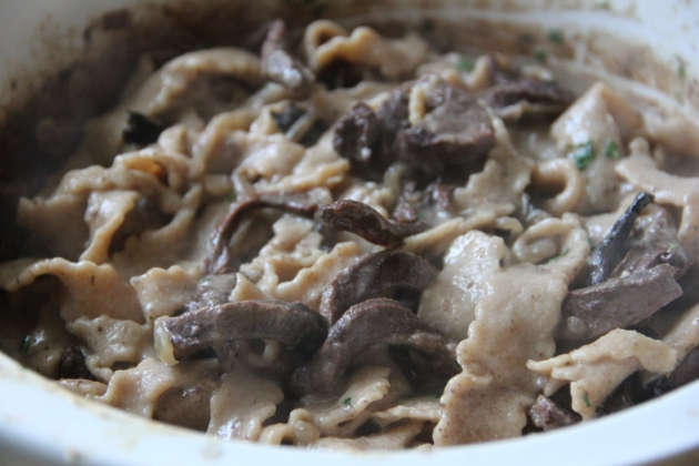 Beef Heart Stroganoff In Slow Cooker