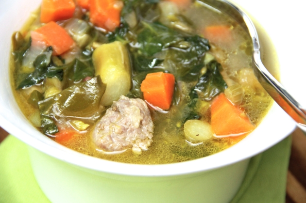 Sausage, Spinach & 'Sparagus Soup