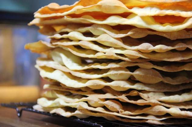 Making Russian Napoleon: a tall stack of crusts
