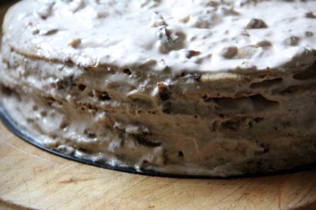 Honey Cake With Walnuts & Prunes -- layering