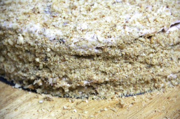 Honey Cake With Walnuts & Prunes -- coating with crumbs