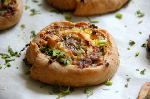 Cheese Swirls: meat, eggs and cheese filling