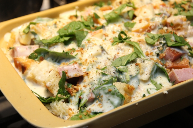 Ham & Spinach Bread Pudding: ready to bake