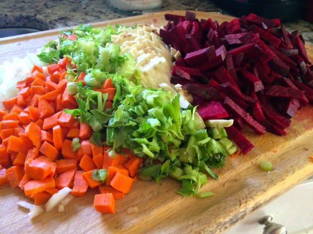 Making Borscht: chopped vegetables
