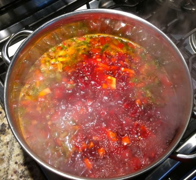 Making Borscht: adding hot stock