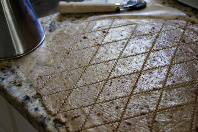 Rye Sourdough Crackers - cutting the dough
